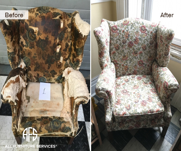 queen antique wing back chair re-upholstery padding restoration